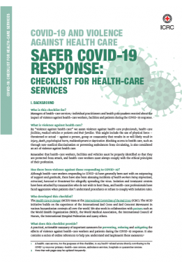 COVID-19 and Violence Against Health-Care – Safer COVID-19 Response: Checklist for Health-Care Services