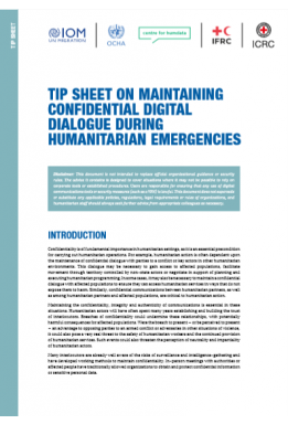 Tip Sheet on maintaining confidential digital dialogue during humanitarian emergencies